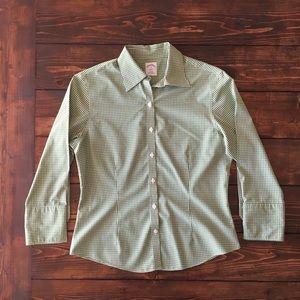 Brooks Brothers Green and White Checked Shirt